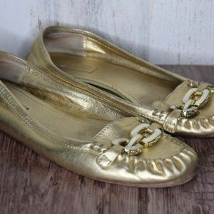 Coach Gold Leather Loafers 8.5 B Women's